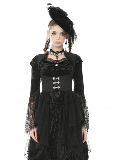 Dark in Love Black Retro Gothic Tail Waistcoat for Women