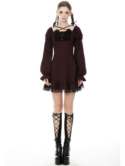 Dark in Love Black and Red Plaid Cute Gothic Long Puff Sleeves Short Dress