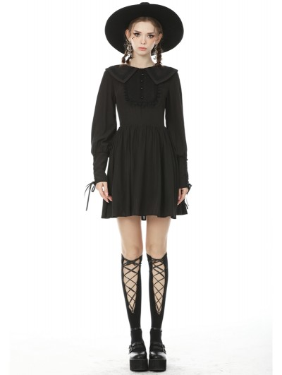 Dark in Love Black Sweet Gothic Long Lantern Sleeve Short Daily Wear Dress