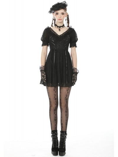 Dark in Love Black Gothic Lace Short Sleeve Daily Wear Dress