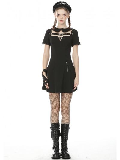 Dark in Love Black Sweet Gothic Grunge Short Sleeve Daily Wear Dress