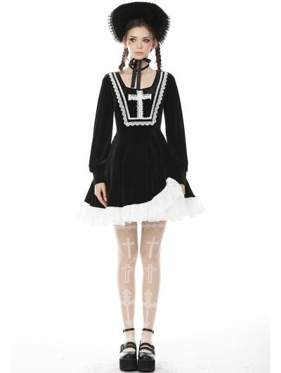 Dark in Love Black and White Sweet Gothic Cross Long Sleeve Irregular Short Dress