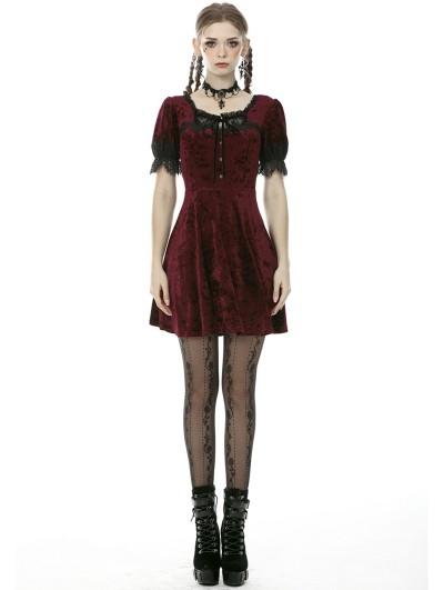 Dark in Love Wine Red Gothic Velvet Short Sleeve Daily Wear Dress