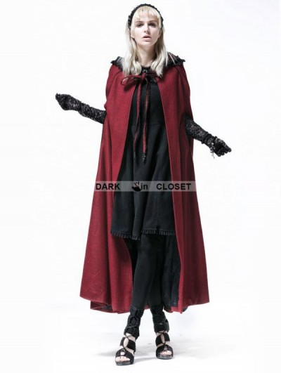Punk Rave Wine Red Hooded Gothic Cape for Women