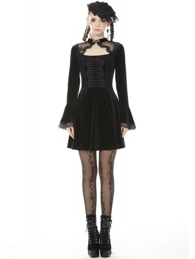 Dark in Love Black Gothic Vintage Velvet Long Sleeves Short Daily Wear Dress