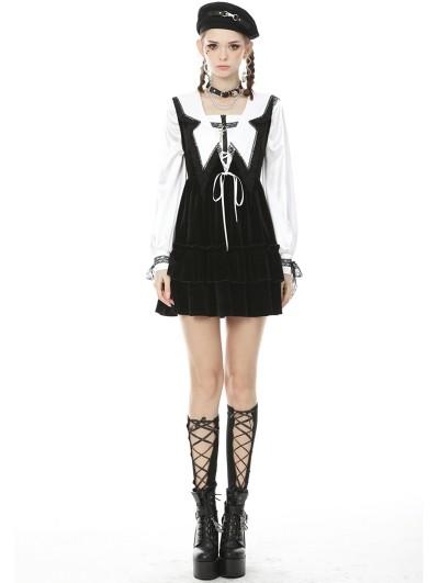 Dark in Love Black Gothic Academy Velvet Short Dress