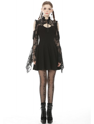 Dark in Love Black Gothic Off-the-Shoulder Lace Long Sleeve Short Party Dress