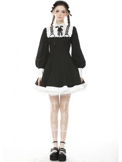 Dark in Love Black and White Sweet Gothic Rebel Doll Long Lantern Sleeve Short Dress
