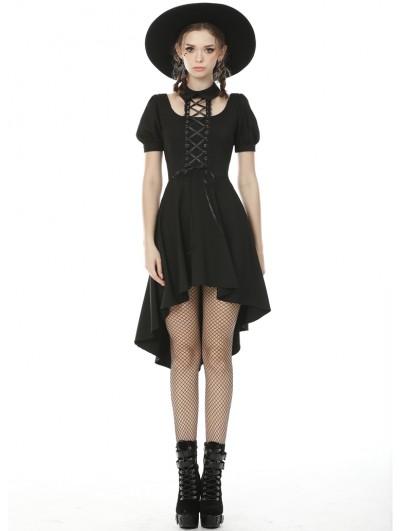 Dark in Love Black Gothic Short Sleeve High-low Daily Wear Dress