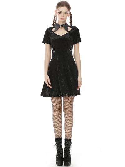 Dark in Love Black Gothic Punk Velvet Short Sleeve Daily Wear Dress