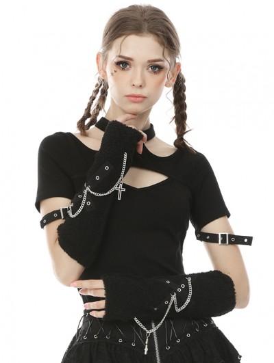 Dark in Love Black Gothic Punk Cross Chain Gloves for Women