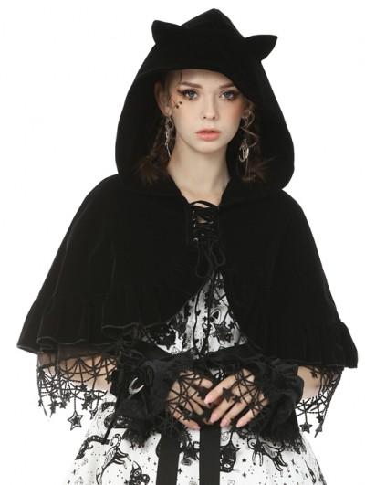 Dark in Love Black Gothic Lolita Moon Star Velvet Gloves for Women