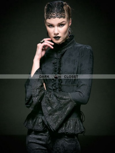 Punk Rave Black Cotton Gothic Jacquard Blouse for Women