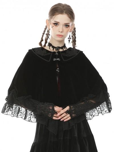 Dark in Love Black Gothic Lace Mesh Gloves for Women