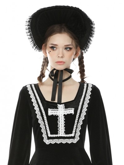 Dark in Love Black Vintage Gothic Bonnet Hat for Women