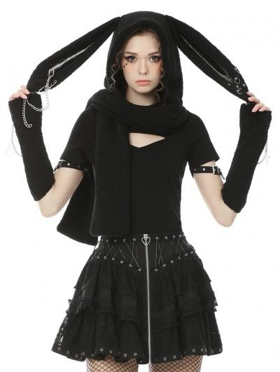 Dark in Love Black Gothic Punk Metal Rabbit Ears Scarf for Women