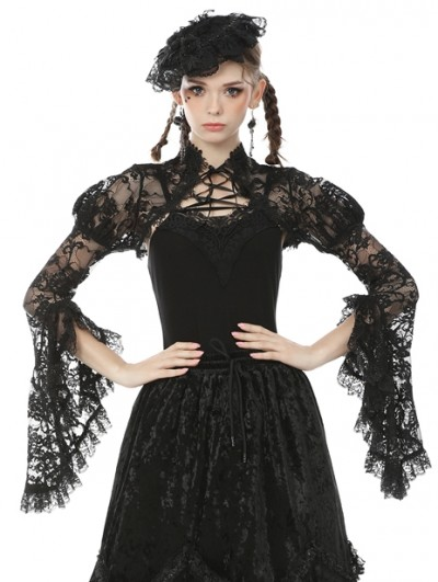 Dark in Love Black Vintage Gothic Tranparent Lace Long Trumpet Sleeve Cape for Women