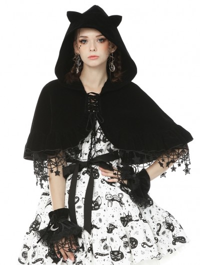 Dark in Love Black Sweet Gothic Lolita Cat Velvet Hooded Short Cape for Women