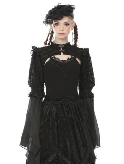 Dark in Love Black Vintage Gothic Long Puff Sleeve Cape for Women