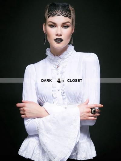 Punk Rave White Cotton Gothic Jacquard Blouse for Women