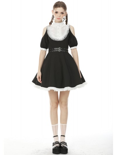 Dark in Love Black and White Sweet Gothic Off-the-Shoulder Short Daily Wear Dress