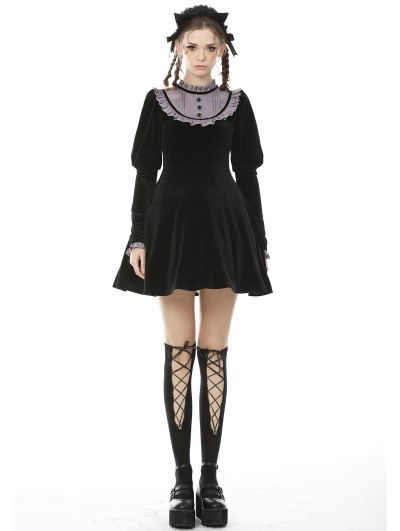 Dark in Love Black and Purple Gothic Doll Long Sleeves Short Daily Wear Dress