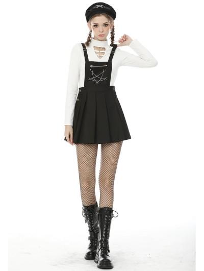 Dark in Love Black Gothic Punk Grunge Star Chain Suspender Skirt