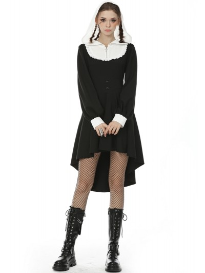 Dark in Love Black and White Retro Gothic Hooded High-Low Dress