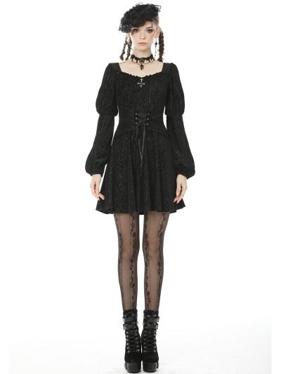 Dark in Love Black Vintage Gothic Long Puff Sleeve Short Casual Dress