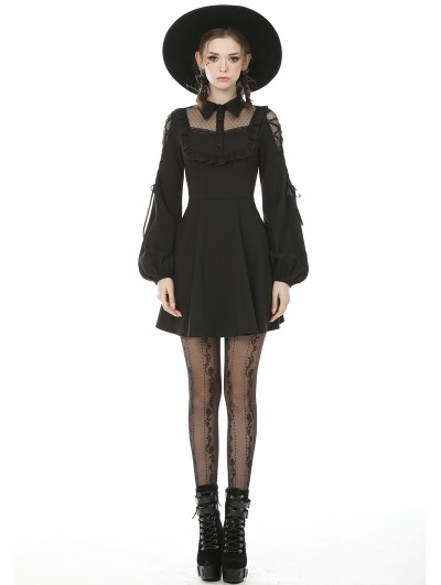 Dark in Love Black Sweet Gothic Doll Collar Long Lantern Sleeve Short Daily Wear Dress