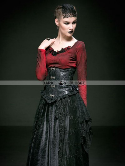Punk Rave Black Rose Decoration Leather and Lace Gothic Underbust Corset