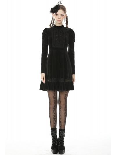 Dark in Love Black Vintage Gothic Velvet Long Sleeve Short Dress