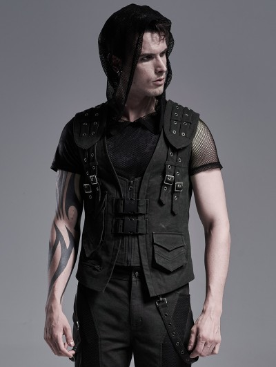 Field Ruins Punk Rave Black Gothic Punk Armor Waistcoat for Men