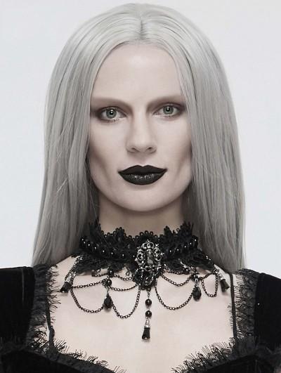 Eva Lady Black Dark Gothic Chain Lace Necklace
