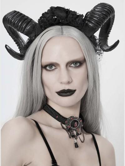 Eva Lady Black Gothic Devil Horn Headdress