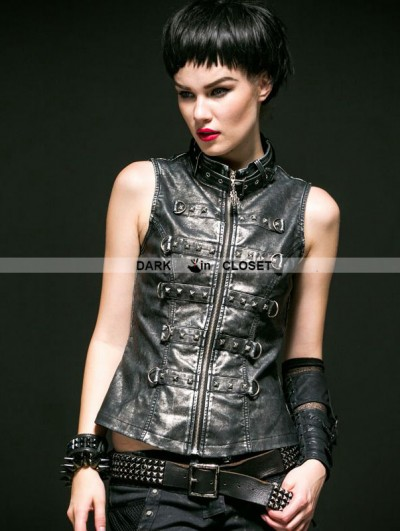 Punk Rave Black and Sliver Gothic Steampunk Hand-Rub Leather Vest for Women