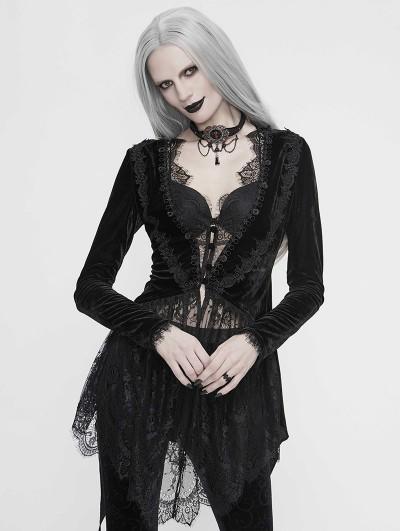 Eva Lady Black Vintage Gothic Sexy Velvet Lace Jacket for Women