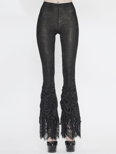 Eva Lady Black Vintage Gothic Sexy Flared Trousers for Women