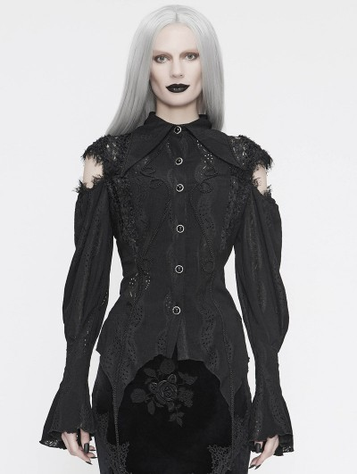 Eva Lady Black Vintage Gothic Hollowed-out Long Sleeve Blouse for Women