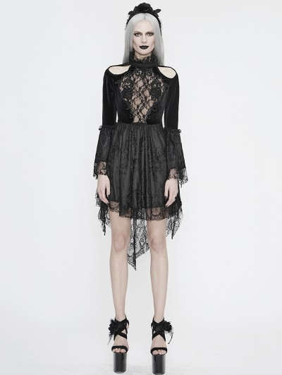 Eva Lady Black Sexy Gothic Hollwed-out Velvet Lace High-low Dress