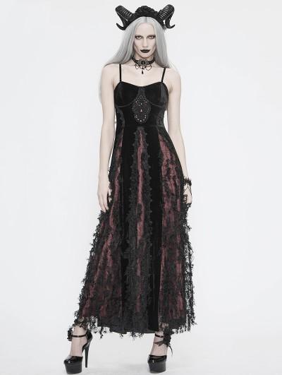 Eva Lady Black and Red Vintage Gothic Velvet Long Party Dress