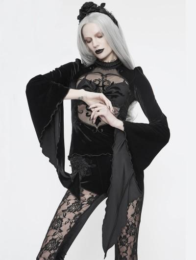 Eva Lady Black Sexy Gothic Velvet Long Sleeve T-Shirt for Women