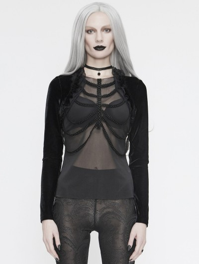 Eva Lady Black Gothic Sexy Transparent Long Sleeve Top for Women