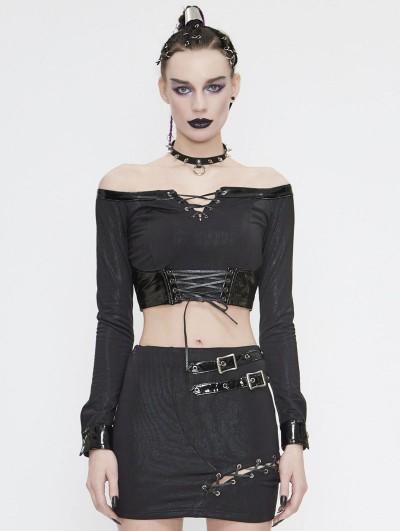 Devil Fashion Black Gothic Punk Off-the-Shoulder Long Sleeve Short T-Shirt for Women