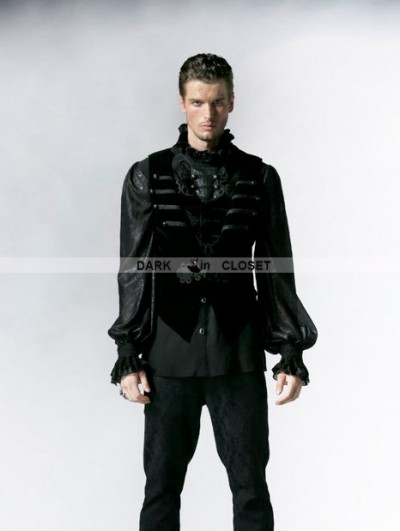 Punk Rave Black Gothic Velveteen Detachable Vest with Swallow Tail for Men