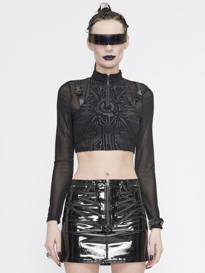 Devil Fashion Black Gothic Punk Long Sleeve Short T-Shirt for Women