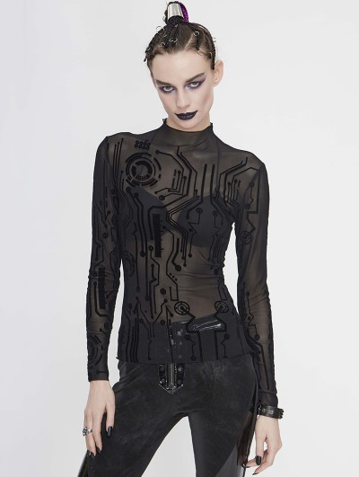 Devil Fashion Black Gothic Punk Sexy Net Long Sleeve T-Shirt for Women
