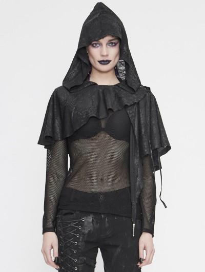 Devil Fashion Black Gothic Asymmetrical Hooded Short Cape for Women