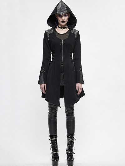 Devil Fashion Black Women's Gothic Punk Long Sleeve Jacket with Detachable Hood