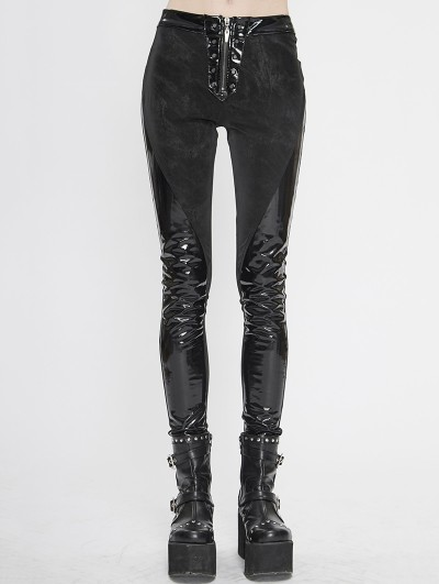 Devil Fashion Black Gothic Punk PU Leather Long Trousers for Women